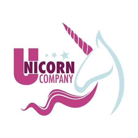 Unicorn company logo with white mythical horse Illustration