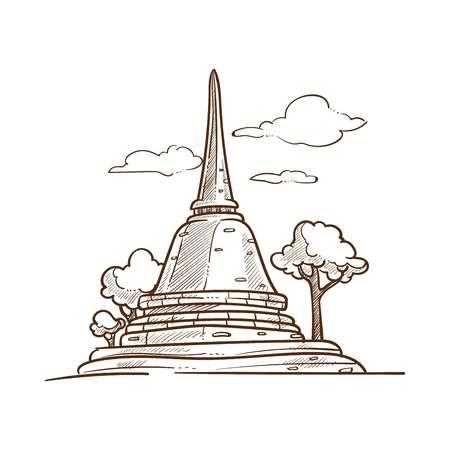 Thailand pagoda vector culture and travel symbol