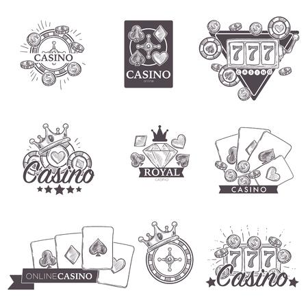 Casino poker gambling game vector sketch icons