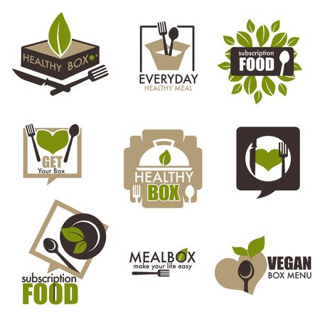 Heathy food subscription service vector box icons Ilustracje wektorowe