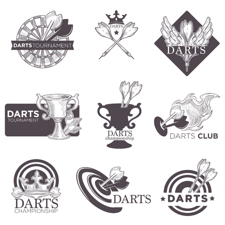 Icone di schizzo di vettore del torneo di gioco di freccette