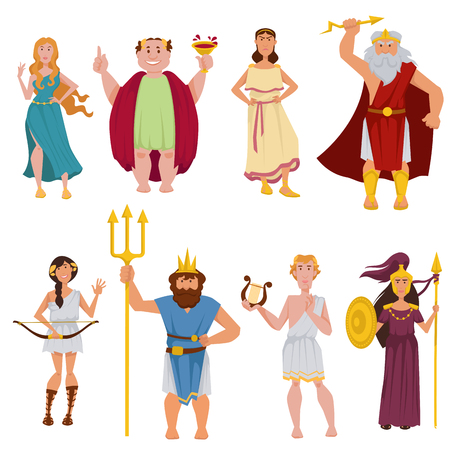 Ancient Greek gods vector cartoon characters Illustration