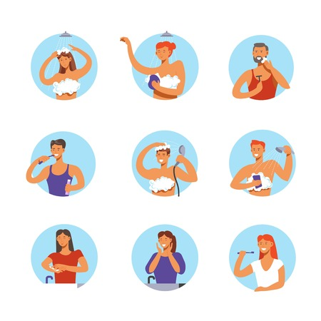 Hygiene procedures circle icons of people man and woman washing face, hands and body in morning shower, brushing teeth or shaving. Vector isolated set Illustration