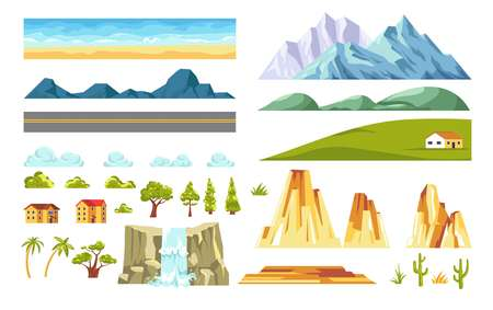 Landscape and nature constructor elements. Vector flat isolated icons of house on field, mountain hill or valley and forest trees on road with rocks and waterfall for seamless backdrop Ilustrace