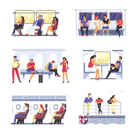 Passenger people on vector transport seats
