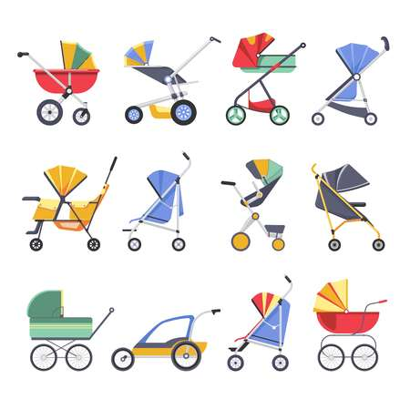 Stroller or baby pram different model types vector icons of newborn buggy with hood