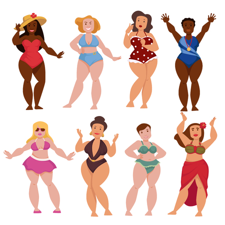 Plump women and girls vector characters Illustration