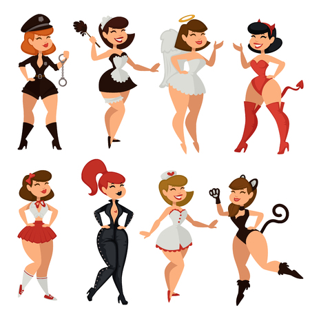 Sexy woman girl striptease clothes vector cartoon Çizim