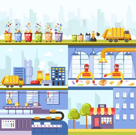 Garbage recycling plant and waste utilization process. Vector garbage truck, workers on sorting conveyor to recycle in eco products of paper industry Vektorové ilustrace
