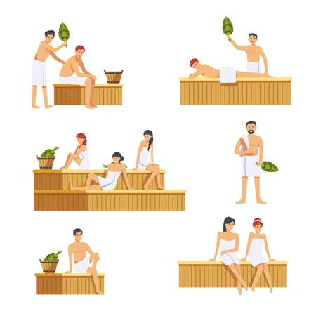 Mensen in sauna man en vrouw karakters. Vectorpictogrammen of Russische of Finse stoomkamer, handdoeken en badbezem voor banya SPA wasprocedure