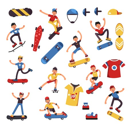 Skateboarder boy or teen kid in jump stunts. Vector cartoon skateboarding equipment of safety helmet and knee pad or sport T-shirt Illustration