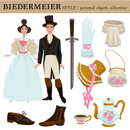 Biedermeier or Austrian and German old retro fashion style of man and woman clothes garments and personal objects collection. Vector dress or suit with shoes, wearable accessories and hairstyle