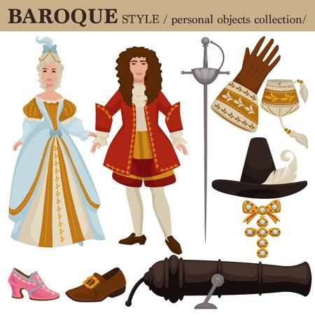 Barokowy lub XVII-wieczny europejski stary styl retro mody odzieży męskiej i damskiej oraz akcesoriów osobistych. Wektorowa renesansowa lub neoklasyczna sukienka lub garnitur z butami i fryzurą