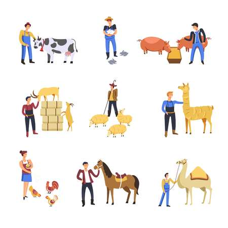 People breeding cattle animals. Vector farmer man and woman feed cow, rabbits or pig and sheep or goat with lama, horse or chicken and camel with forage or fodder Vektoros illusztráció