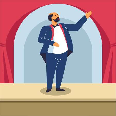 Man singing on opera stage or classical concert.