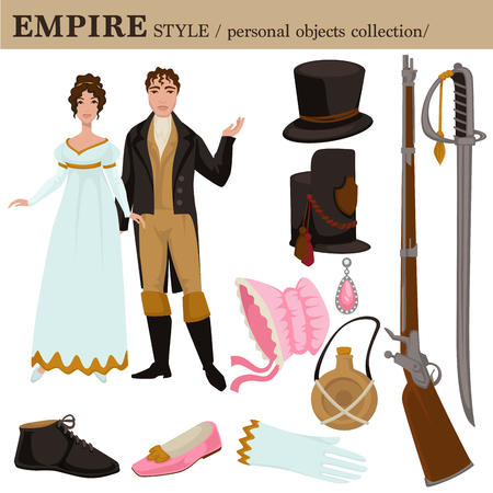 Baroque or 17 century European old retro fashion style of man and woman clothes garments and personal accessories. Vector Renaissance or Neoclassical dress or suit with shoes and hairstyle Vettoriali