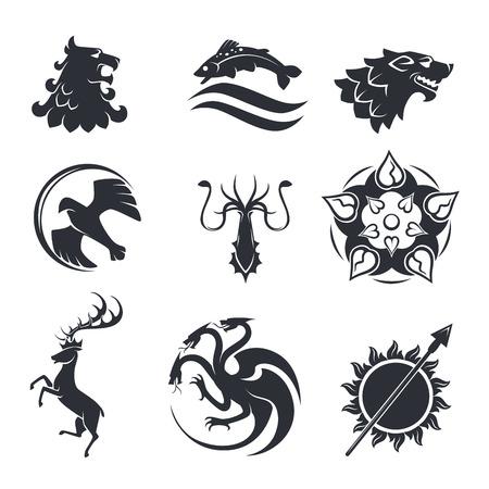 Animales heráldicos vector gótico y pájaros o peces