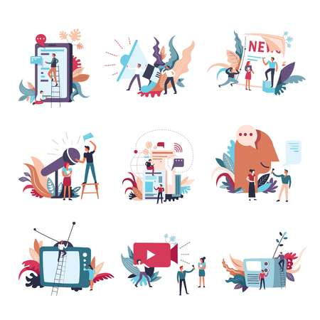Journalism, mass media news and information conceptual icons. Vector small people with newspaper or TV and radio on journalist and reporter video interview and megaphone announce