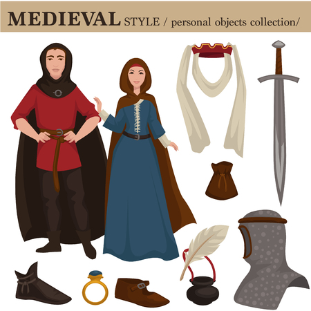 Medieval European old retro fashion style of man knight and woman clothes garments and personal accessories. Vector Middle Age ancient century dress or suit with shoes and hairstyle Illustration
