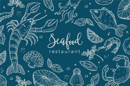 Seafood restaurant sketch poster for menu or tablemat template. Vector blue pattern background of seafood lobster crab, shrimp prawn or fish and oyster, salmon steak and octopus
