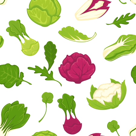 Salad lettuces and cabbage vegetables seamless pattern. Vector background of cauliflower, kohlrabi or broccoli cabbage, iceberg salad leaf and oakleaf with chicory and arugula