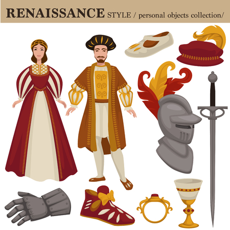 Renaissance century European old retro fashion style of man and woman clothes garments and personal accessories.