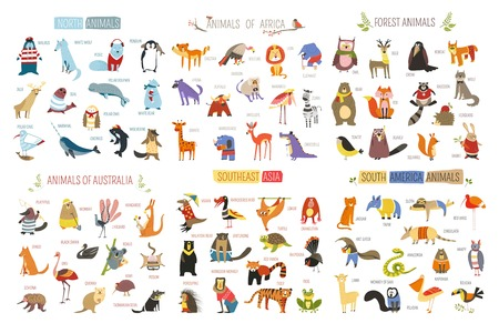 Cartoon animals and birds of different continents