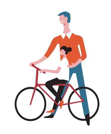 Vater und Tochter fahren Fahrrad. Vektor-Cartoon gesichtsloser Mann lehren Mädchen Kind fahren Fahrrad halten, glückliche Spaßzeit zusammen haben