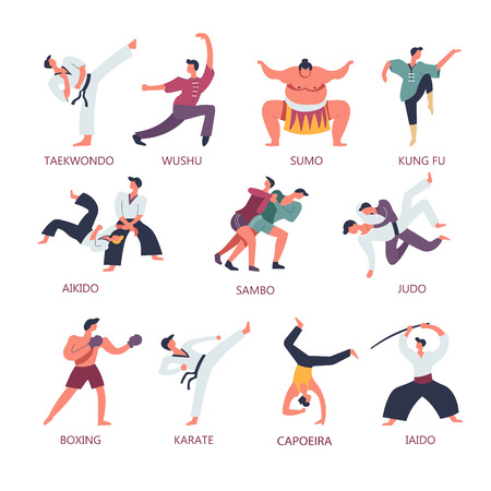Fighting and martial sport arts. Vector people fight on Japanese taekwondo or sumo and Chinese wushu with kung fu pose or aikido, modern boxing and Brazilian capoeira