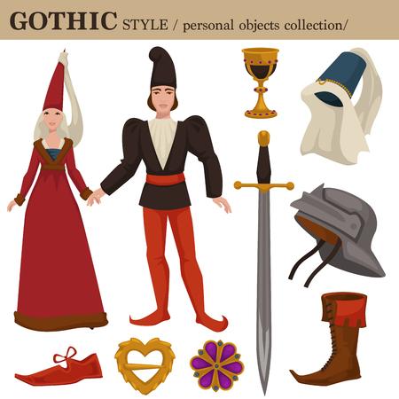 Gotico medievale 14 secolo europeo vecchio stile di moda retrò di abbigliamento uomo e donna indumenti e accessori personali. Abito o abito romanico o tedesco vettoriale con scarpe e acconciatura Vettoriali