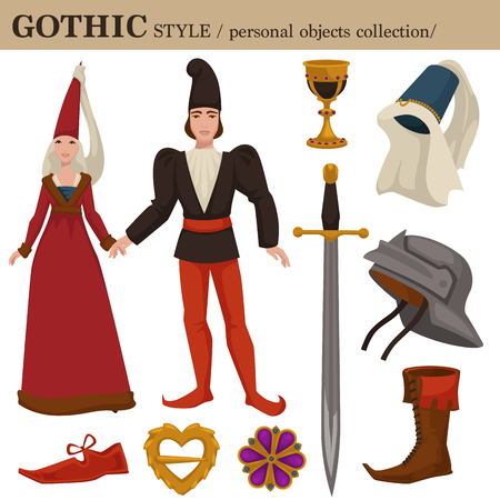 Gothic Medieval 14 century European old retro fashion style of man and woman clothes garments and personal accessories. Vector Romanesque or German dress or suit with shoes and hairstyle