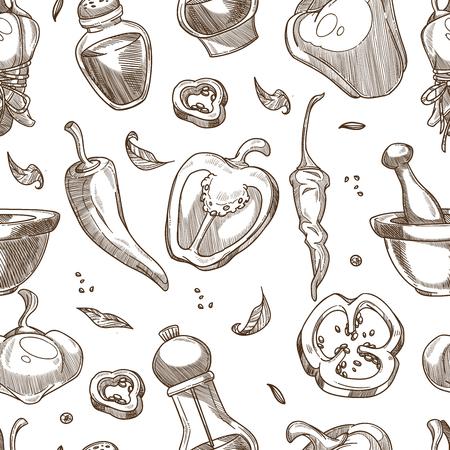 Épices au poivre ou motif de croquis d'assaisonnement. Fond transparent de vecteur de graines de piment, de cayenne ou de jalapeño et de poivre noir dans une roulette ou un mortier pour la cuisson