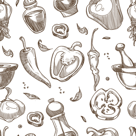 Pepper spices or seasoning sketch pattern. Vector seamless background of chili, cayenne or jalapeno and black pepper seeds in caster or mortar for cooking