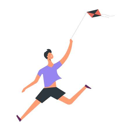 Boy run and play with kite. Vector cartoon faceless kid son and happy childhood fun time Çizim