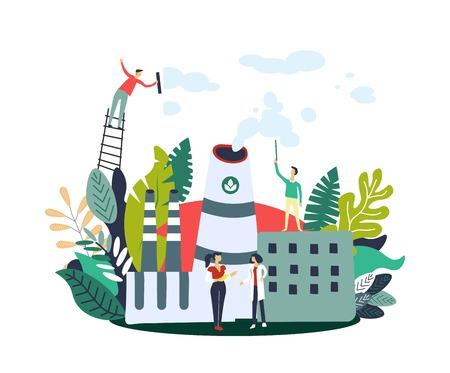 Riduzione delle emissioni di gas persone sulla fabbrica ecologica che si prende cura dell'ecologia del vettore pianeta. Rifiuti industriali in atmosfera e inquinamento atmosferico. Uomo e donna che puliscono smog, fogliame e foglie della natura