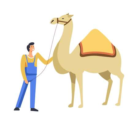 Animal Egyptian camel with owner caring for it vector. Person with livestock on leash leading to destination place. Human smiling and caring for creature used for transportations in sunny deserts