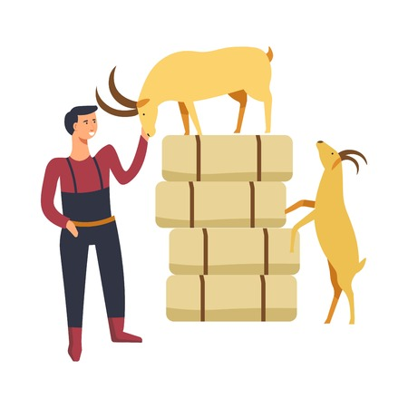 Goat breeding by farmer man person with animals vector