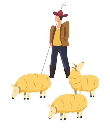 Sheep animals domestic pets and smiling shepherd controlling mammals vector. Creatures giving wool and meat, agricultural and husbandry industry of people living in rustic areas. Breeding and tending