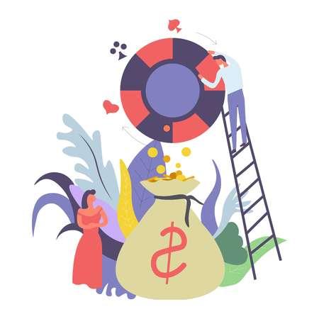 Casino gambling and money cash in bag vector Illustration