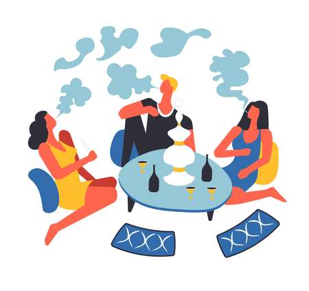 Party of people sitting on blankets and smoking oriental hookah by table vector. Man and women relaxing at bar, lounge area for females and males in arabic style. Resting and drinking beverages from cups Illustration
