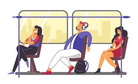 People on their way home in train or metro vector