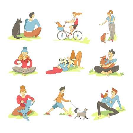 Las personas que pasan tiempo con las mascotas en la naturaleza establecen el vector. Mujer montando bicicleta con perro sentado en la canasta, hembra feliz con animal canino. Macho gato caminando y jugando con pájaro loro en el hombro