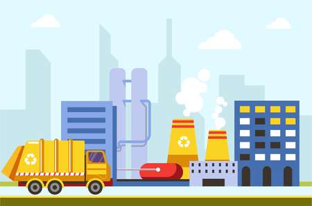 City town infrastructure buildings and factories car vector. Truck van transporting garbage for recycling process at industrial place. Gas emissions from urban constructions saving ecological problem