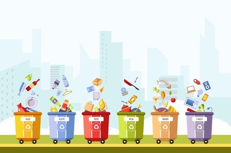 Vetro e plastica, carta e metallo, separazione organica e dei rifiuti in diverse scatole vettore. Riciclaggio dei rifiuti in pattumiere, pattumiera con posate, tablet e laptop, lische di pesce, pane e discarica di cibo Vettoriali