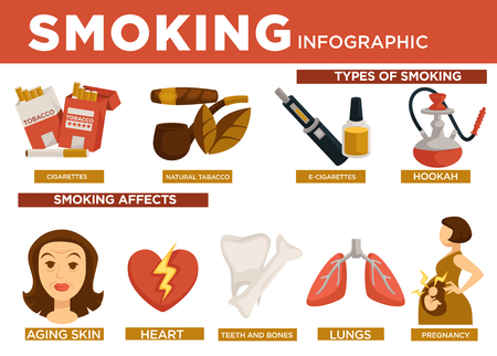 Smoking infographic types and affect on body vector. Cigarettes and natural tobacco leaves with pipe, e-cigarettes and hookah oriental kind. Aging skin, heart diseases, teeth and bones, lungs and pregnancy Ilustracja