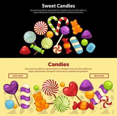 Candies and caramel sweets poster template for confectionery or candy shop. Vector heart of marmalade bears, lollipops or sweetmeats and toffee comfits, candy canes for confectionery background Иллюстрация
