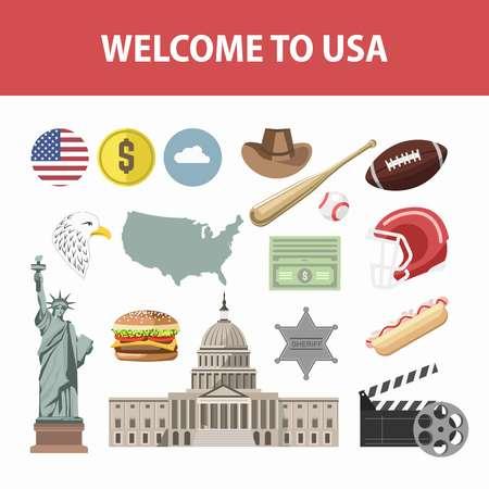 Affiche de voyage des monuments célèbres de l'Amérique et des attractions touristiques. Vector New York Liberty Statue, drapeau américain sur le cinéma Capitol ou Hollywood, jeu d'icônes plat de rugby ou de baseball