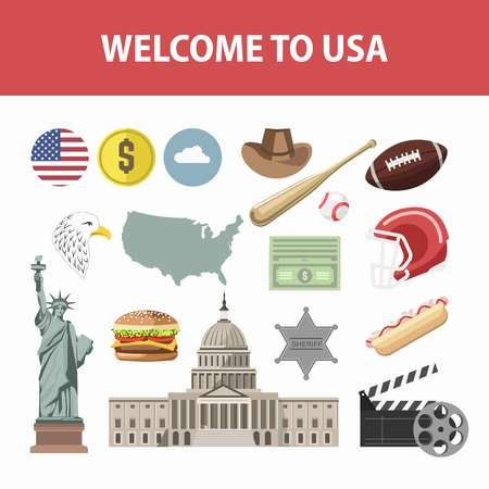 Travel poster of America famous landmarks and tourist attractions. Vector New York Liberty Statue, American flag on Capitol or Hollywood cinema, rugby or baseball flat icons set