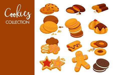 Sweet delicious cookies with natural dark chocolate and tender icing and waffles with cold ice cream and fruity jam isolated cartoon flat vector illustrations collection on white background.
