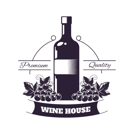 Premium wine club isolated monochrome emblem flat vector illustration on white background.